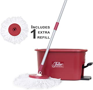 Fuller Brush Spin Mop Exclusive Bucket System - Easy Wring, 360° Spin - Streak Free Floor Cleaning - Ruby Red (1 Extra Refill Mop Head)