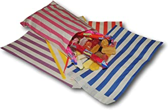 "EPOSGEAR® 100 Coloured Candy Stripe Sweet Paper Party Bags - Ideal for Gift Shops, Wedding Favours, Candy Carts, Buffets etc (Mixed, 7"" x 9"")"