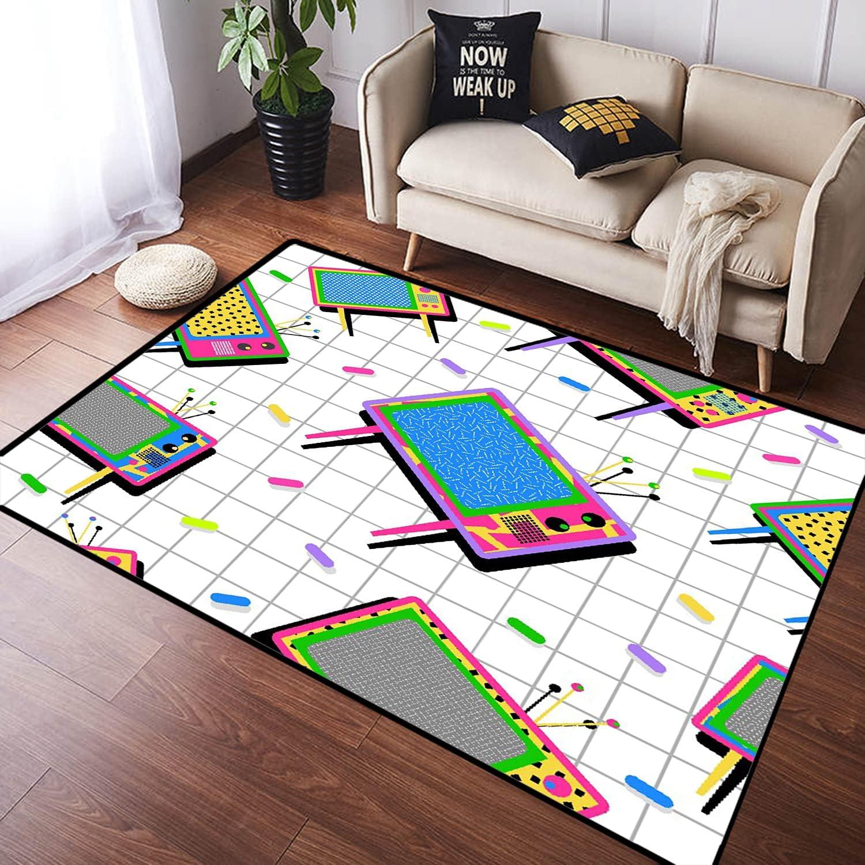 ZOMOY Long Floor Mat Carpet Max 72% Seasonal Wrap Introduction OFF Funny Memphis T Color Retro 80s Neon