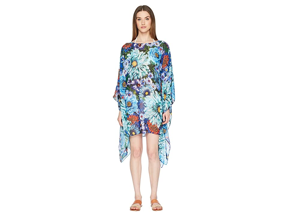 Mary Katrantzou Beach Poncho Printed Georgette Cover-Up (Turquoise) Women