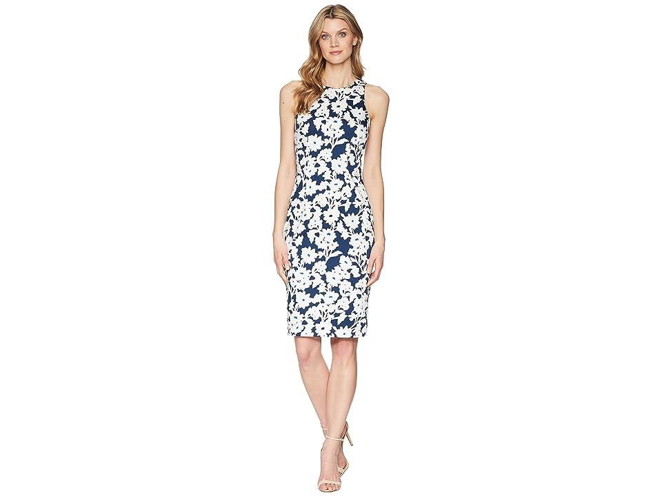 Adrianna Papell Daisy Field Sleeveless Bodycon Dress (Navy/Ivory Multi) Women