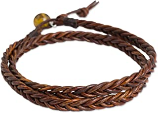 Tiger's Eye Braided Leather Men's Wrap Bracelet, 16.5
