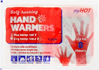 MyHot Hand Warmer - Natural Long Lasting Air Activated Safe Hand Warmers - Up to 8 Hours - 20 Count (10 Packs/2 Warmers Per Pack)