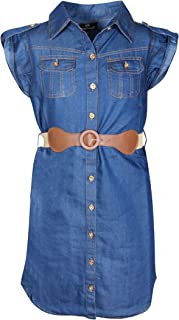 Girls' Belted Denim Peasant Dress (Toddler/Little Girl/Big Girl)