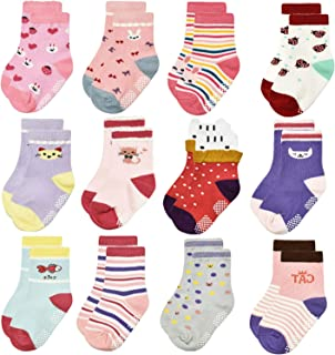12 Pairs Non Slip Toddler Baby Socks Boys Girls Kid Non Skid Sticky Crew Socks with Grips for 1-7 Years Old Infants Children