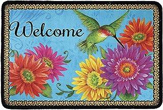 FKELYI Welcome Doormats for Entryway Indoor Outdoor Anti-Slip Thick Door Mat Hummingbird Gerberas Daisy Floral Painting He...