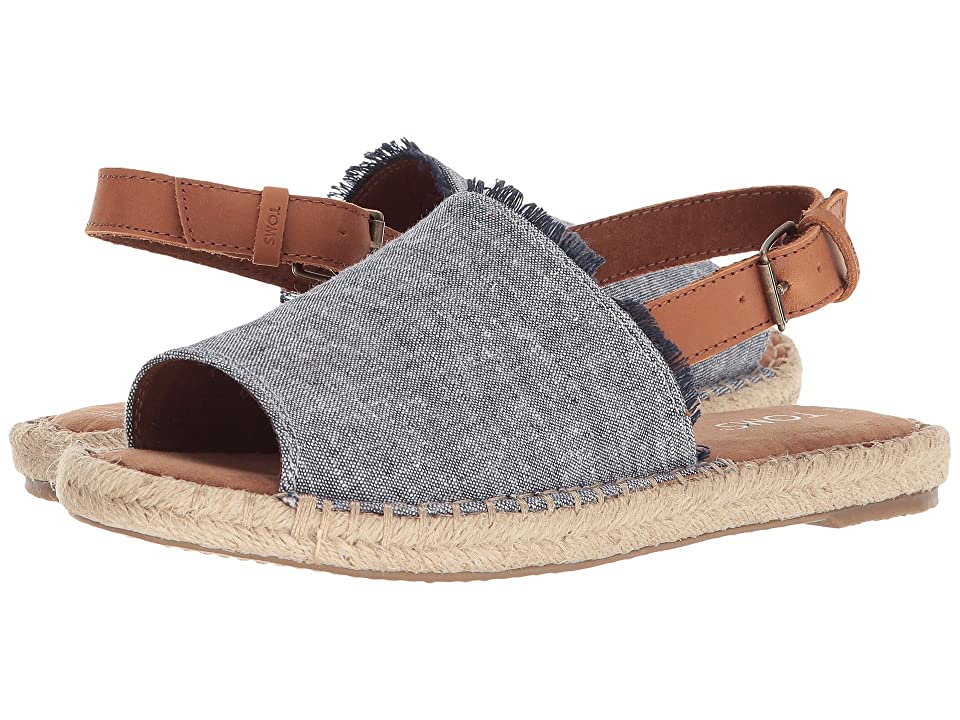 TOMS Clara (Navy Slub Chambray/Leather) Women