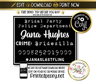 Best printable bachelorette mugshot signs Reviews