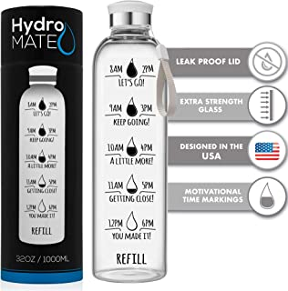 HydroMATE 32 Oz Motivational Glass Water Bottle with Time Marker | Leak Proof | BPA-Free | Track Intake & Drink More Water Daily | Safe For Travel To-Go & Hot Liquids Tea & Coffee | 1 Liter