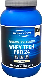 BodyTech Whey Tech Pro 24 Protein Powder Protein Enzyme Blend with BCAA's to Fuel Muscle Growth Recovery, Ideal for PostWorkout Muscle Building Natural Vanilla (2 Pound)