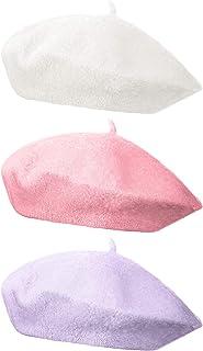 3 قطع قبعة بيريه على الطراز الفرنسي قبعة صغيرة بلون موحد قبعة الشتاء للنساء والفتيات للاستخدام العادي