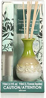 Hosley Aromatherapy Highly Scented, Sweet Pea Jasmine, Diffuser Oil with Ceramic Bottle Plus Reed Sticks.- 110 Milliliter Ideal Gift for Party Favor, Weddings, spa, Reiki, Meditation, Bathrooms O4