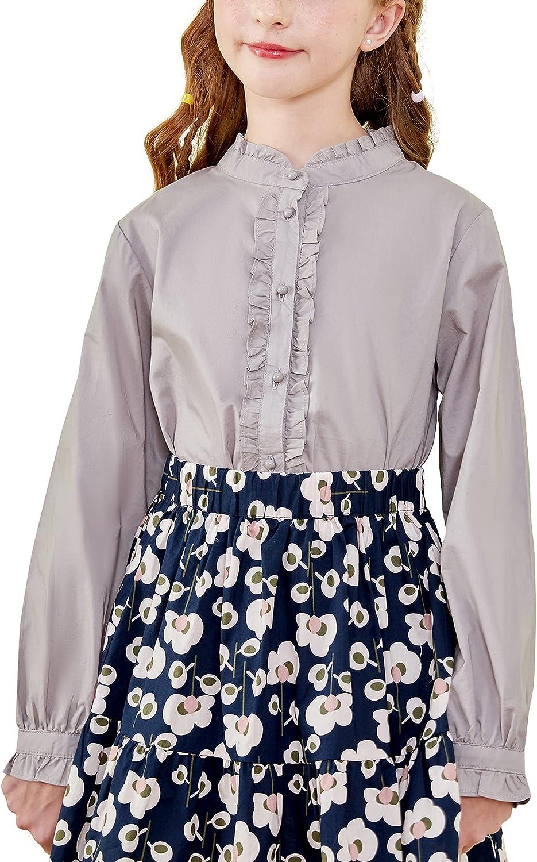 Alternative dealer maoo garden Girls Popular standard Long Sleeve Blouse Cotton Button U Ruffle Down