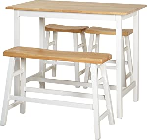 Target Marketing Systems Galena Counter Height Set (4-Piece), Natural/White