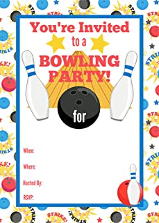 Bowling Party Invitation Card for Kids Bowling Birthday Party Invite Set of 20 with Envelopes