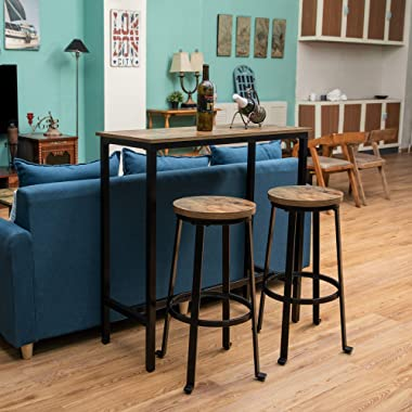 """KOZYSPHERE Bar Stools for Kitchen - 29"""" Pub Height Chairs with Metal Frame - Backless Barstools - Set of 2 - Industrial R"""