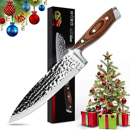 Couteau de Chef 8 pouces, HOBO Couteau de Cuisine Couteau Professionnel Japonais en Acier AUS-10 Super Carbon, Lame Finition, Martelée, Rasoir Tranchant, Ergonomique, Boîte D'emballage Premium