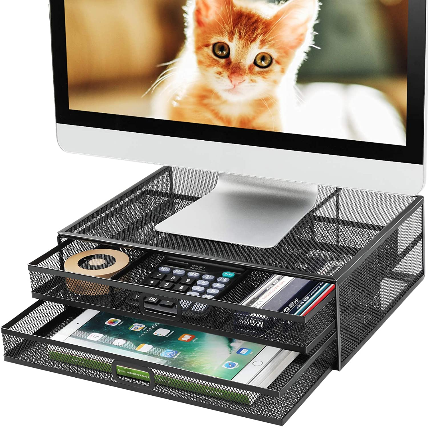 Irongear Monitor Stand Riser with Drawer - Mesh Metal Desk Organizer Storage,Office Supply for Computer, PC, Laptop, Printer, Notebook, iMac,Holds 33lbs Screen Holder (Black)