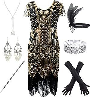 Stone Women Gatsby Cocktail Flapper Plus Dress 20S Headband Accessories Set