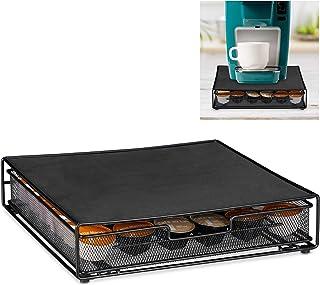 relaxdays 10028956_46 Porte-Capsule Dolce Gusto, Distributeur antidérapant, tiroir, métal, Pratique, HxLxP 8 x 33,5 x 32 c...