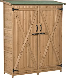 Outsunny Outdoor Wooden Storage Shed Utility Tool Organizer with Waterproof Asphalt Rood, Lockable Doors, 3 Tier Shelves f...
