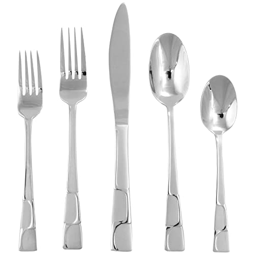 Hampton Forge Silversmiths River Frosted 5-Piece Flatware Set, 400C0053JB