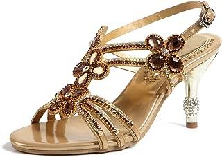 Honeystore Women's Flower Rhinestones Rubber Sole Pump Stiletto Heel Prom Sandals Shoes
