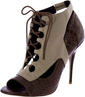 Elizabeth and James Women's Lang Open Toe Lace up Booties