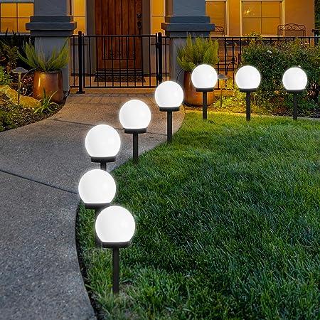 Lampes Exterieure Solaires De Jardin Au Sol, FLOWood Exterieure Étanche Lumiere 8 Pack IP44 Globe Stake lumière Pour extérieur Villa pelouse Jardin, Paysage, Allée, Cour, Patio