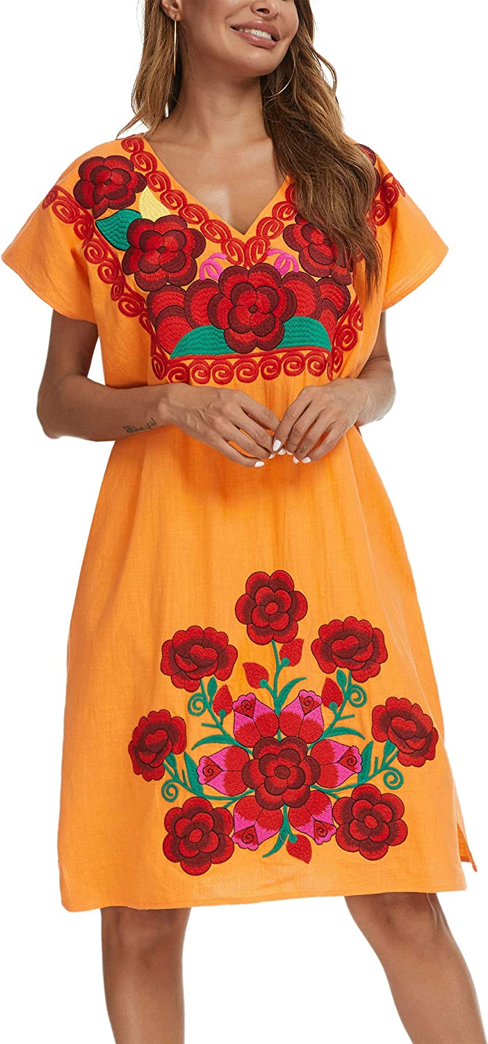 YZXDORWJ Women's Casual V Neck Mini Party Wedding Dress Floral Embroidered Mexican Peasant Dress