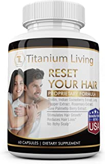 Reset Your Hair with Biotin, Rosemary Extract, Other Natural Ingredients – Hair Health Supplement for Women and Men (60 capsules)