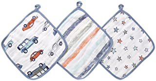 Aden By Aden And Anais Hit The Road Collection Muslin Washcloth, Multicolor, Pack of 3
