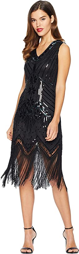 1920s Deco Sequin Veronique Fringe Flapper Dress