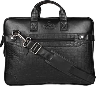 OMAX Black PU Leather Laptop Sleeve for Men