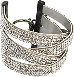 "6"" Rhinestone Crossover Design Cuff Toggle Bracelet"