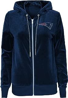NFL Womens Juniors Glitzy Pass Velour Full Zip Hoodie