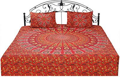 Om Export Peacock Wing Indian Mandala Bohemian Art Hippie Wall Hanging Bedspread Bedcover Beach Throw Blanket Room Dorm Bedsheet Outdoor Picnic Yoga Mat Tapestry (Red, Queen (90x84 Inches))