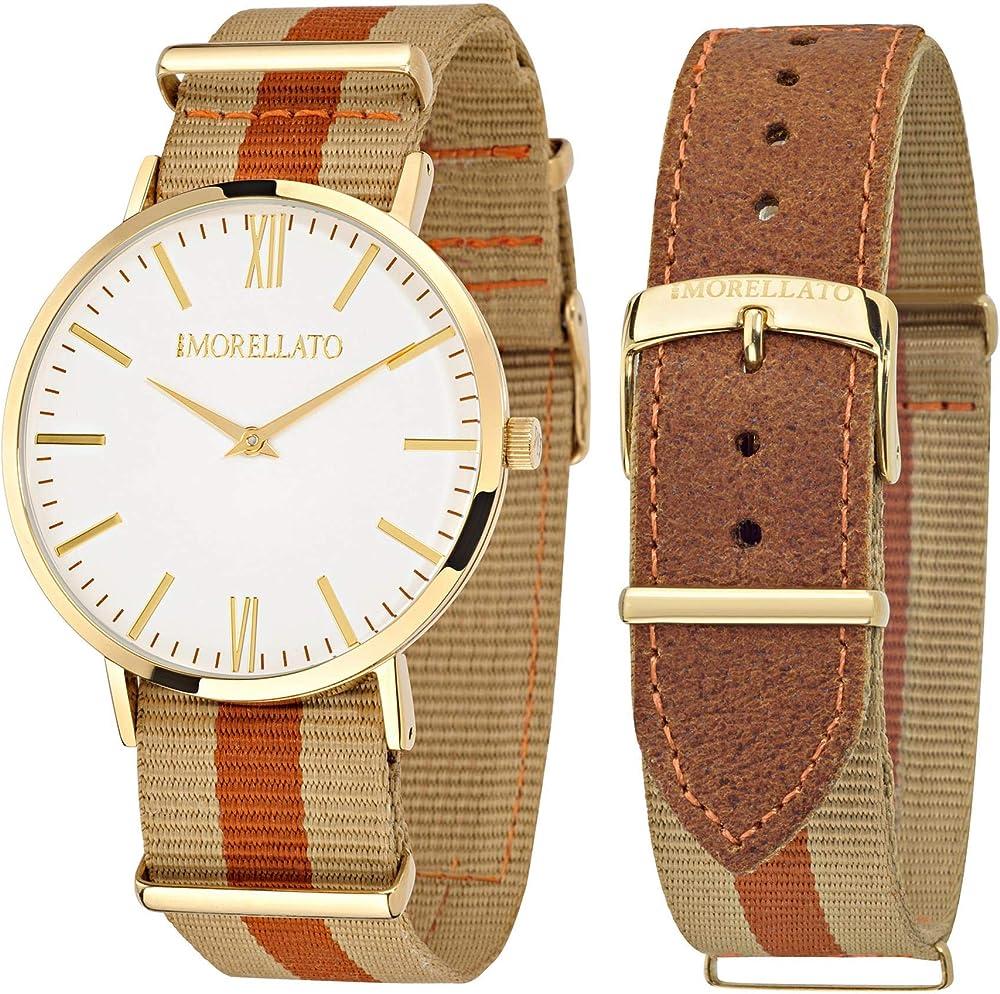 Morellato ,orologio per uomo,cassa in acciaio, cinturino in stile nato in canvass e pelle R0151134002