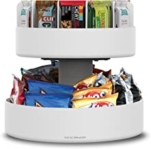 Mind Reader 2 Tier Lazy Susan Granola Bar and Snack Organizer,Home, Office, Breakroom, White