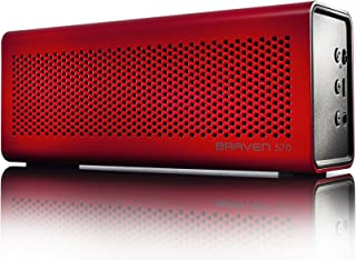 BRAVEN 570 Portable Wireless Bluetooth Speaker [10 Hour Playtime][Waterproof] Built-In 1400 mAh Power Bank Charger - Red