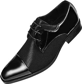 Amali Mens Two Tone Metallic and Black Patent Cap Toe Oxford, Lace-Up Tuxedo Dress Shoe