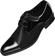 Amali Mens Draper Shiny Metallic Satin Patent Two-Tone Cap Toe Lace up Oxford Dress Shoe Trimmed with Black Patent
