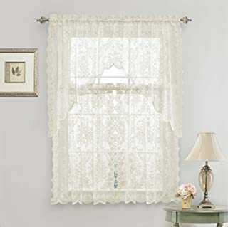 GoodGram Lena Floral Lace Complete 3 Pc. Cottage Kitchen Curtain Tier & Swag Valance Set - Assorted Colors (Beige)