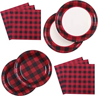 Aneco 98 Pieces Red and Black Plaid Party Supplies Party Tableware Paper Plates and Napkins for 24 Guests