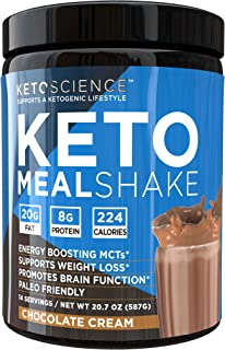 Keto Science Ketogenic Meal Shake Chocolate Dietary Supplement, Rich in MCTs and Protein, Keto and Paleo Friendly, Weight ...