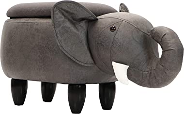 "Critter Sitters Dark 15"" Seat Height Animal Gray Elephant-Faux Leather Look-Durable Legs-Storage for Nursery, Bedroom, Playroom & Living Room-Décor Ottoman"