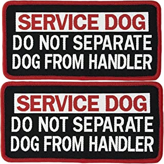 2 PCS Service Dog Do Not Separate Service Dog from Handler Tactical Military Morale Badge Emblem Embroidered Fastener Hook & Loop Patches Appliques for Harnesses Vests 4