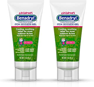 Benadryl Topical Anti-Itch Camphor Cooling Gel for Kids, Diphenhydramine Free, Travel Size, 3 oz (Pack of 2)