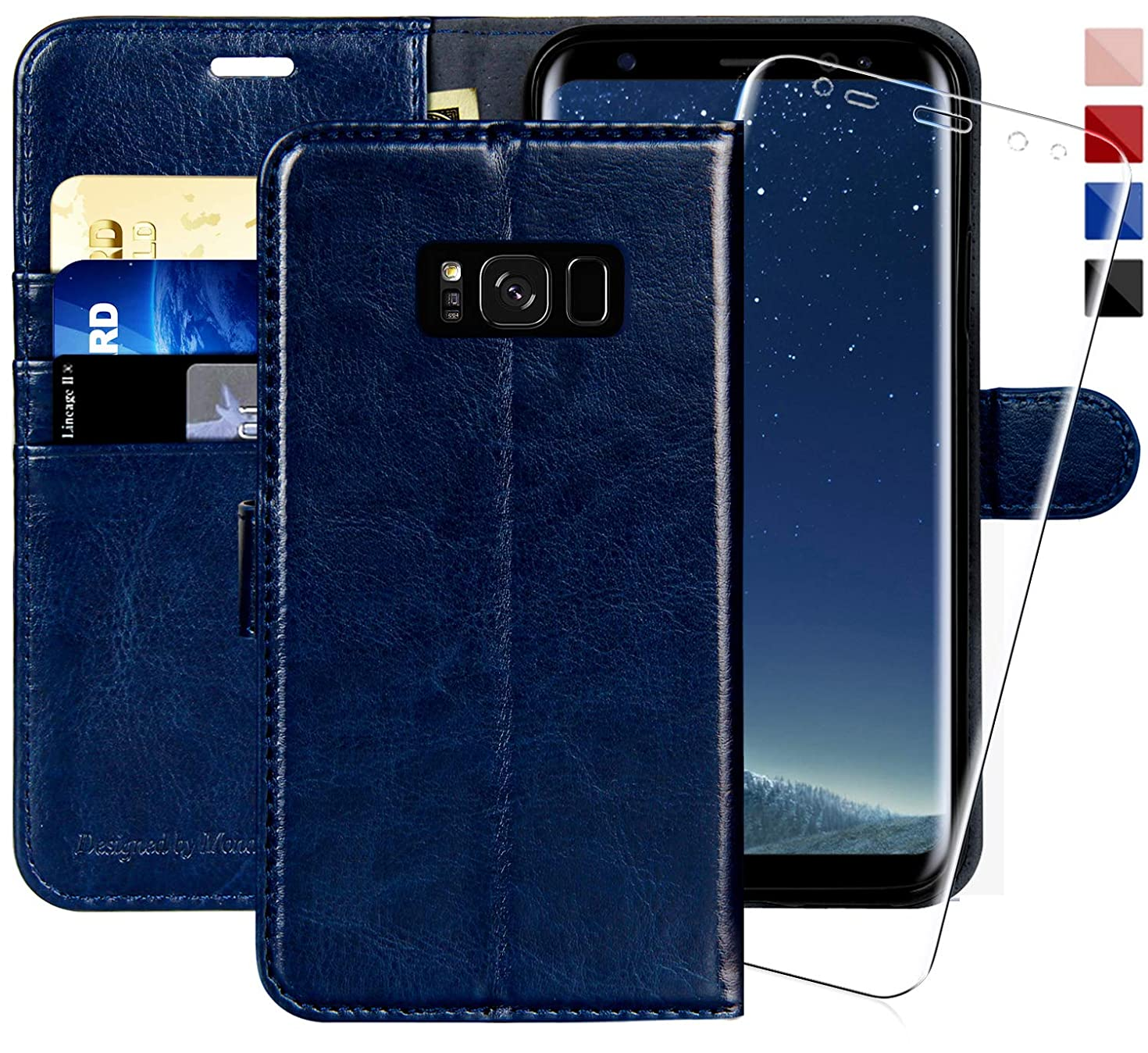 Galaxy S8 Wallet Case, 5.8-inch,MONASAY [Included Screen Protector] Flip Folio Leather Cell Phone Cover with Credit Card Holder for Samsung Galaxy S8
