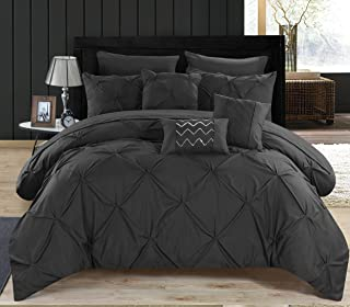 Chic Home 10 Piece Pinch Ruffled and Pleated Complete Bed, Black, Queen Comforter